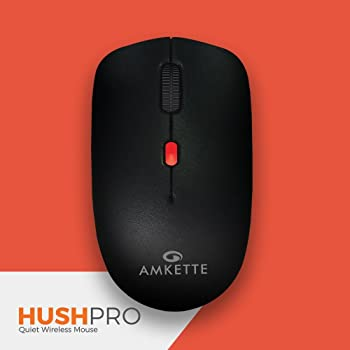 Amkette HushPro-The Quiet Wireless Mouse for Laptop/PC/Desktop (Black-Red)