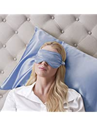 Jasmine Silk 100% Pure Silk Filled Eye Mask / Sleeping Mask Sleep Mask - Baby Blue