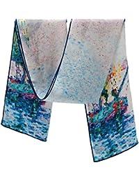 Prettystern - Pointillisme peinture art imprimé long soie écharpe - Paul Signac - différents motifs