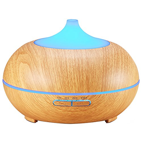 Amir 300ml Cool Mist Ultrasonic Humidifier, Wood Grain Essential Oil Diffuser with 4 Timer Settings,10 Hours Continuous Mist, for Christmas Gift, 7 Color Changing LED, Waterless Auto off Air Purifiers