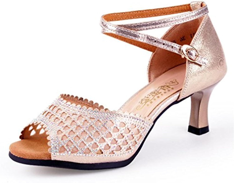 BYLE Sandali di Cuoio Cinturino alla Caviglia Samba Jazz Moderno Scarpe da Ballo Latino Scarpe da Ballo Donna... | Resistenza Forte Da Calore E Resistente  | Uomo/Donne Scarpa