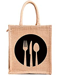H&B Jute Bags - Multipurpose Waterproof Jute Lunch Bags | Jute bags for women | Jute bags for lunch for men | Jute bags for lunch for women | Jute bag with zip | Jute lunch bags for office women | Jute lunch bag for office for men | Jute lunch bags for men with zip | Jute lunch bags for kids | jute bags for shopping – Bags for women | Bags for Men | for Kids, Unisex with Zip & Luxurious Padded Handles- ( Print: Dine 3, Beige , Size: 11x9x6 Inch )