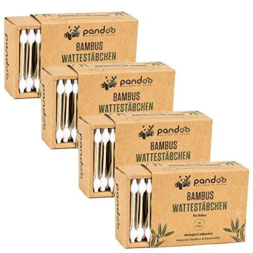 *pandoo 4er Pack Bambus Wattestäbchen mit großem Sicherheitskopf | 100% biologisch abbaubar, vegan & nachhaltig*