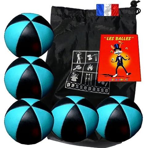 Enveloppebulle-Lotto di 5 palle da giocoliere jongler Flash pro, colore: nero/blu (6 lati), in simil pelle, completo con borsa di trasporto e libretto, 24 pagine [in lingua francese]