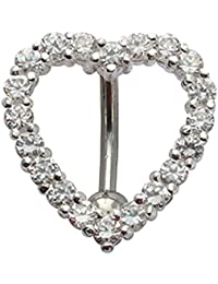 belly bars - reverse loop heart belly ring - we use the best quality Laser cut CZ crystals - comes in a lovely velvet pouch - Surgical Steel 316L bar 10MM