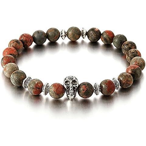 9MM Pietra Preziosa Sintetico, Braccialetto di Perline con Cranio Charms, Bracciale da Uomo Donna, Beads Prayer