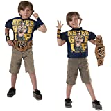 Official WWE Merchandise John Cena Deluxe Muscle Chest T-Shirt Costume Set Includes Championship Belt & Wrist Bands by My Planet