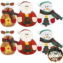 erinfam 6forchette tuta tasche sacchetti Natale portaposate posate da cucina posate Coltello Borsa feste di (Babbo Neve Natale)