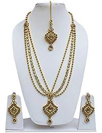 Lucky Jewellery Designer Golden White Color Alloy Necklace Set For Girls & Women