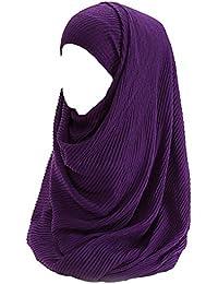 Lina   Lily Hijab pour Femmes Foulard Écharpe Turban Châle Islamique,  Plissé Coton a031894836a