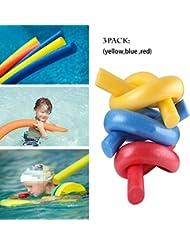 Haolong Adulte et enfant piscine nouilles Float Aid en mousse d'eau de rééducation de natation de nouilles Lot de 3(Rouge, Jaune et bleu)