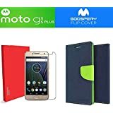 GOELECTRO Moto G5s Plus 5.5 Inch Goospery Mercury FLIP COVER (Combo Offer) Magnetic Lock Fancy Diary Wallet Case Back Cover For Moto G5s Plus With Premium Tempered Glass For Motorola Moto G5s Plus (Blue-Transparent)