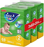 Fine Baby Diapers, Size 2, Small 3-6 Kgs, Jumbo Pack, 204 total count