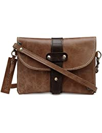 The House Of Tara Genuine Leather Crossbody Wallet (Distress Tan) HTSB 055