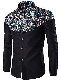 FuweiEncore Camisas de Manga Larga con Cuello Redondo y Estampado de Estilo étnico para Hombres (