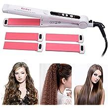 Plancha de Pelo,Planchas para el pelo,3 en 1 Multifunción Intercambiables Rizadores-Con LED Pantalla+Voltaje: 110-240V