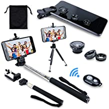 AFAITH 6in1 Kit, Bluetooth inalámbrico Bluetooth Remote Control de disparo de la cámara + Extensible Auto-retrato Telescópico Monopod de mano + Adaptador de teléfono inteligente Adaptador Teléfono + Retractable Rotador Trípode Soporte Soporte + Lente Ojo de Pez + Gran Angular + Lente Macro para iPhone 7 / 7plus 6 plus / 6, Samsung Galaxy S8 / S7 Edge / S6 Edge, Huawei P9 / P10, HTC, Blackberry, Smartphones GP036B (negro)