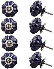 Indian-Shelf Handmade Ceramic Solid Drawer Knobs Dresser Pulls Wardrobe Handles(Blue, 1.75 Inches)-Pack of 8