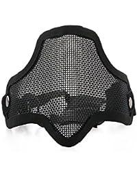 VORCOOL CM01 Deportes al Aire Libre Caza táctica Malla metálica Máscara Facial Máscara Protectora con Banda elástica Ajustable (Negro)