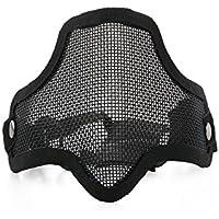 Foxnovo CM01 Sports de plein air chasse Tactical Metal Mesh demi visage masque masque de protection avec bandeau élastique réglable (noir)