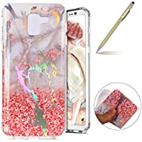 Herbests Funda Samsung Galaxy A8 2018, Carcasa Samsung Galaxy A8 2018 Ultrafina TPU Gel Protector Flexible Cover Funda Samsung Galaxy A8 2018 Carcasa Alta Calidad IMD Láser Diseño Colorido Mármol Series Glitter Brillante Funda Silicona Carcasa Ultra Slim Transparente Crystal Clear Soft TPU Silicone Back Bumper Case Cover Goma Funda Anti-Golpes Anti-Rasguño Antideslizante Protección Carcasa TPU Silicona Case para Samsung Galaxy A8 2018 con 1 x Bolígrafo, Mármol Rosa Blanco