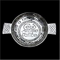 "Pewtermill Crafts – Cuenco tipo quaich escocés de peltre Hundred Thousand Welcomes – 3,5 ""Bowl"
