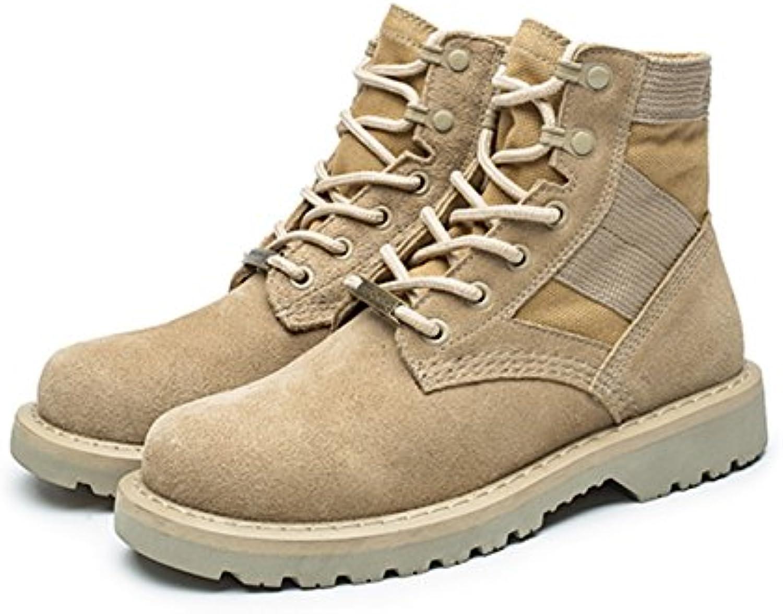 GUNAINDMX  Martin stivali Men's scarpe Military stivali Wild,38 Standard Leather Dimensione,Beige Help The Female Models | Elegante e solenne  | Maschio/Ragazze Scarpa