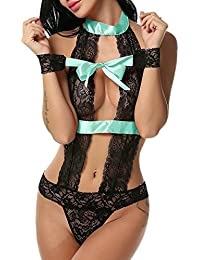 ADOME Femme Nuisette Babydoll Dos Nu Dentelle à Lacets Tenue Sexy Body  Ouvert ... ef8f35b766f