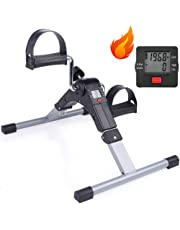 Sampri Fitness Cycle - Foot Pedal Exerciser - Foldable Portable Foot, Hand, Arm, Leg Exercise Pedaling Machine - Folding Mini Stationary Bike Pedaler, Fitness Rehab Gym Equipment for Seniors, Digital