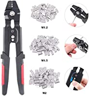 Glarks Up To 2.2mm Wire Rope Crimping Tool Wire Rope Swager Crimper Fishing Crimping Tool With 180Pcs 1.2/1.5/
