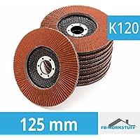10pieza Disco de láminas (125mm, grano 120compartimentos lija marrón de láminas