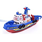 Electric Marine Rescue Fire Boat With Sound And Flash Lights Water Spraying Ship Model For Toddler Kids