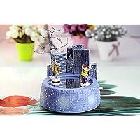 Preisvergleich für Baby-lustiges Spielzeug Kreativer Harz-Spieluhr - Junge und Mädchen treffen sich durch den Magneten für Weihnachtsgeschenke-Schloss im Himmel