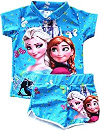 4fa17a1f35ea7 UK SELLER FREE DELIVERY Girls Swimwear Frozen Elsa Anna Two Piece Set Blue  T Shirt and
