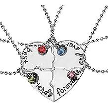 """Elegant Rose, set di 4collanine dell'amicizia, con ciondolo a forma di cuore, motivo """"Best Friends Forever and ever"""", regalo creativo per ragazze, in lega"""