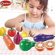 Onshine 19 Piezas Alimentos Juguetes de Madera Set Cortar Frutas Verduras Temprano Desarrollo Educación Bebé Niños Comida Cocina