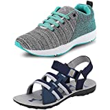 Chevit Men's Combo Pack Of 2 Sandal & Sports Shoes (Running Shoes & Floaters)
