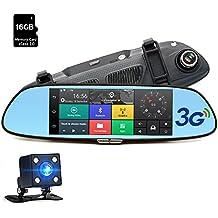 Junsun Videocámara DVR para coche FHD 1080P de 160°Doble Lente de la Cámara con Bluetooth GPS Navegador 16 GB TF tarjeta
