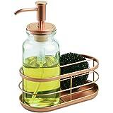 InterDesign Westport Soap Dispenser Pump with Sponge/Scrubber Holder for Kitchen Countertops, Clear/Copper