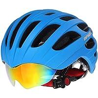 Casco da ciclismo MTB Strada Caschi Per Ciclismo Unisex Protezione di Sicurezza con visiera, Blue