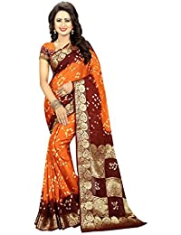 Nirja Creation Women's Silk Saree With Blouse Piece (Nc-Td-1214,Orange,Free Size)