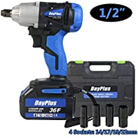 Cordless Impact Wrench 1/2 inch Driver 18V 420N.m High Torque with Socket Set 14mm 17mm 19mm 22mm, with Battery 6000mAh Li-Ion 3200rpm Variable Speed, with Carry Box