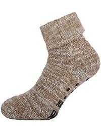 1 Paar warme ABS Damen Thermo Woll Socken mit Umschlag 70/% Wolle braun 35 bis 42