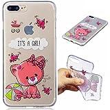 Funda iPhone 7PLUS silicona transparente Ultra-fino TPU suave Carcasa Bumper DECHYI Patrón arte-cute cat