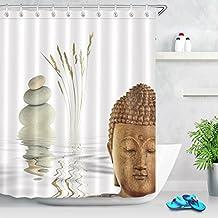 LB 180x180cm Tela de Poliéster Mildew-Resistant Cortinas de Ducha, Decoración de piedra de Zen Buddha Tema Spa ,con 12pcs ganchos