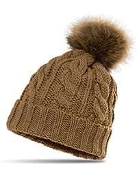 CASPAR MU104 Bonnet fourré hiver pour femme - bonnet tricoté avec torsades et gros pompon en fausse fourrure