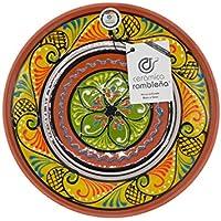 CERÁMICA RAMBLEÑA | Plato Decorativo para Colgar en Pared | Plato de cerámica | Plato decoración Mediterránea Amarillo-Blanco-Verde | 100% Hecho a Mano | 21x21x2.5 cm