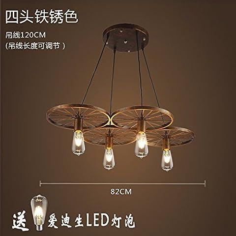 MSUXT lampade a sospensione Moderno e minimalista Nordic Industrial lampadari in ferro 4 il vento e la ruggine 82cm Soggiorno Camera da letto Studio Ristorante