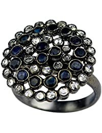 925 Sterling Silver Oxidized Blue Sapphire & White Topaz Ring Size 9 US 6.50g cci Jewelry 16.38 g cci fashion stylish & classy ring design for girls and women by CrystalCraftIndia
