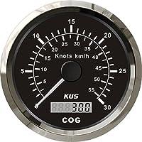 Kus GPS Tacho Kilometerzähler Gauge 30Knoten 55km/h für Boot Yacht, 85mm mit Hintergrundbeleuchtung